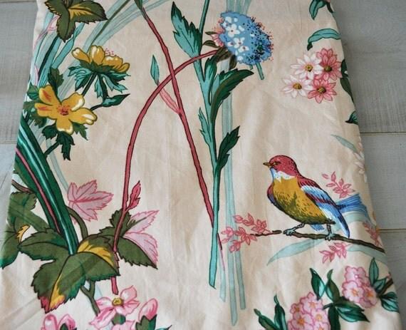 stunning vintage bird and flower fabric