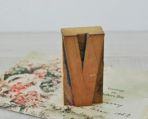 vintage industrial letterpress wooden block letter V