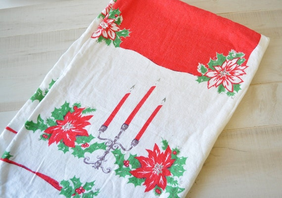 50s vintage---Poinsettia, Candleabra, Holly Leaves, Holly Berries Christmas tablecloth---holiday entertaining