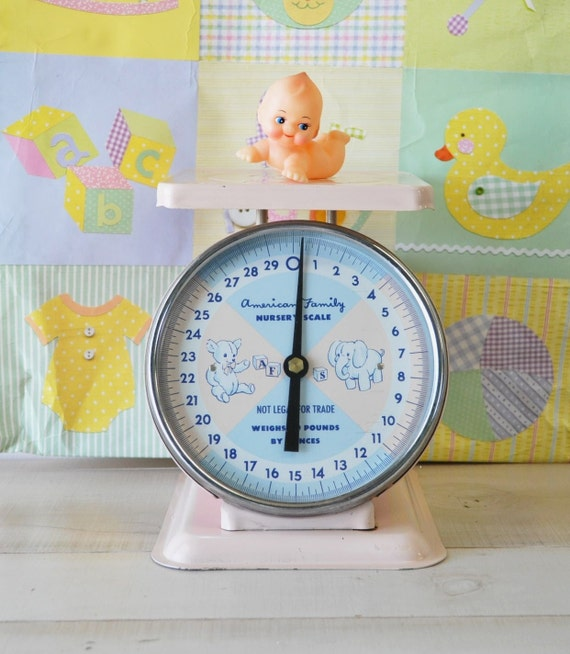 palest pink American Family Baby nursery scales--vintage 1950s