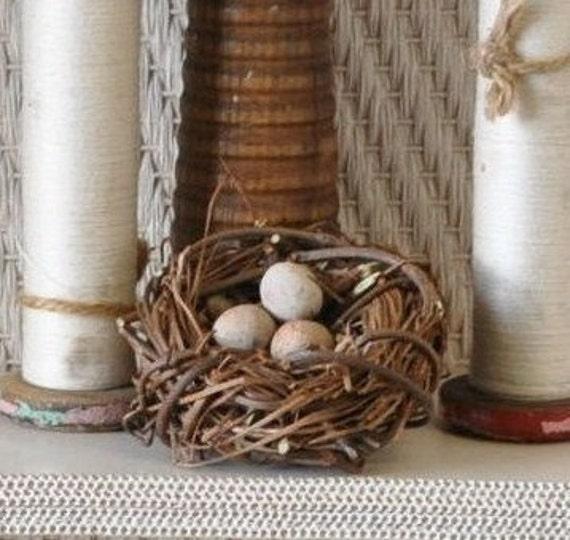 grapevine bird nest  with handsculpted clay eggs