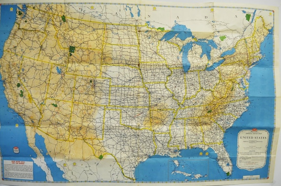 Vintage 1950's American Automobile Association United States road map