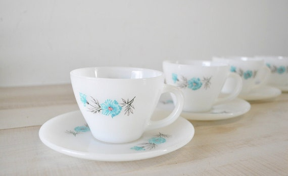 Vintage Fire-King Oven Ware Bonnie Blue floral 1950's Cup & Saucer Sets