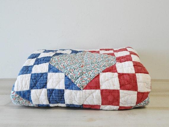 Antique feedsack fabric patchwork shabby farmhouse quilt