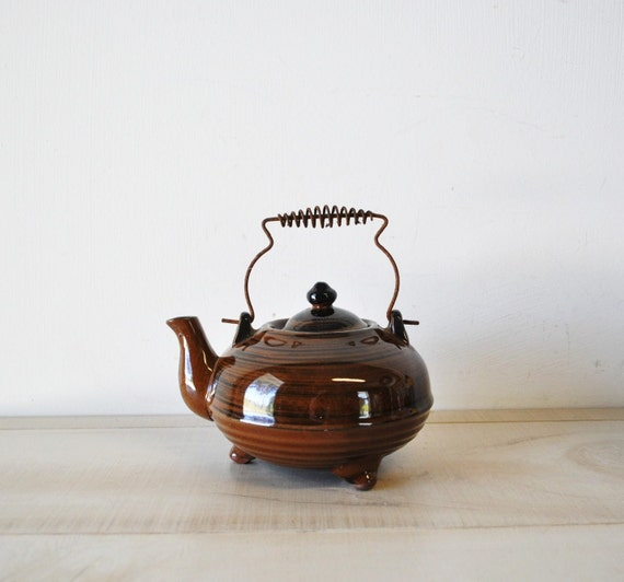 It is Tea Time--vintage royal sealy chocolate brown teapot with antique brass wire handle--art deco design
