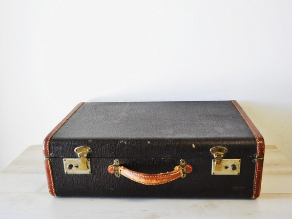 Road Trip--vintage chocolate brown leather 1940s luggage--home decor
