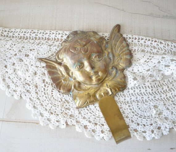 70s vintage solid brass cherub hook