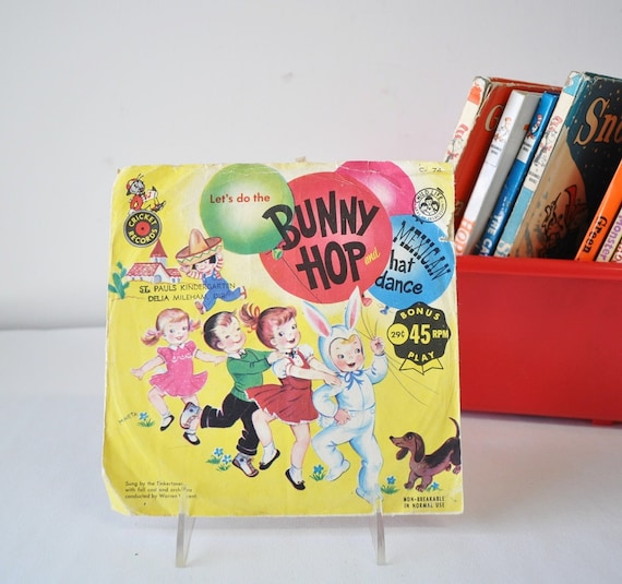 vintage 1950s Let's do the Bunny Hop and Mexican hat dance vinyl record