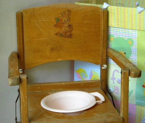 Vintage Child S Wooden Potty Chair By Thayer Tops For Tots