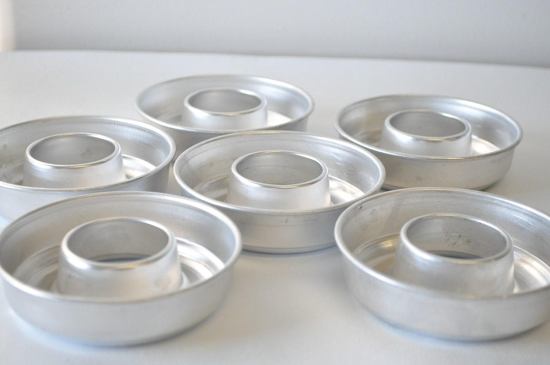 6 Vintage Bundt Pan Donut Shaped Tin Baking Jello Molds
