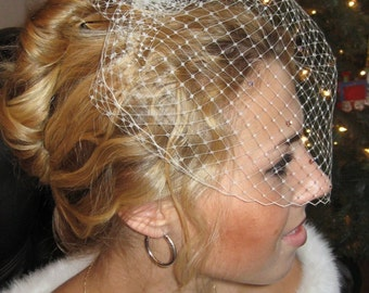 Ready to Ship! Ivory French Veil with Swarovski Rhinestones