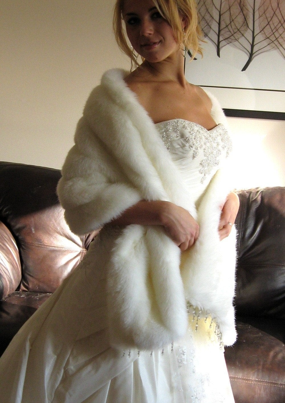 Ivory off white faux fur stole with beaded trim - Stoel fur ...