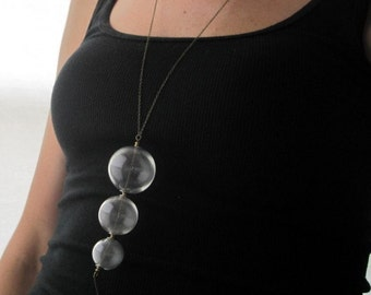 Clear Glass Orb Trio Necklace