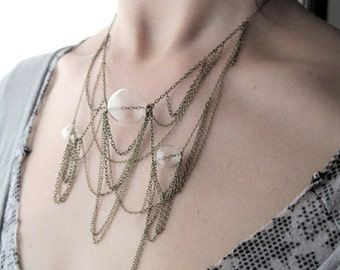 Tangled-- Hollow Glass Orb and Chain Netting Necklace