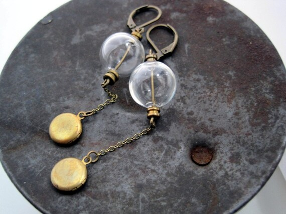 Glass Orbs and Lockets Earrings