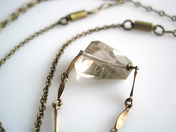 SALE Copper Rutilated Quartz Necklace