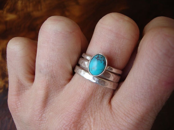 sterling and turquoise stacker set
