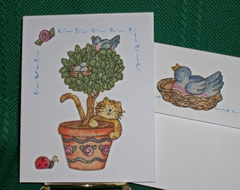 NOTECARDS--Country Cats in Fabric Applique