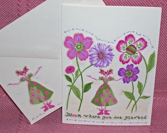 NOTECARDS--Girl in the Garden in Fabric Applique-2