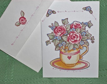 NOTECARDS--Hearts and Flowers in Fabric Applique-2
