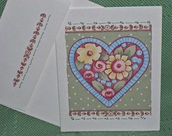 NOTECARDS--Hearts and Flowers in Fabric Applique
