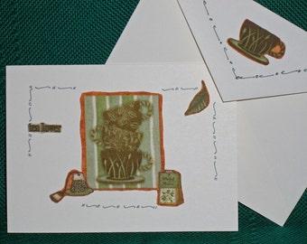 NOTECARDS--Green Tea in Fabric Applique-3