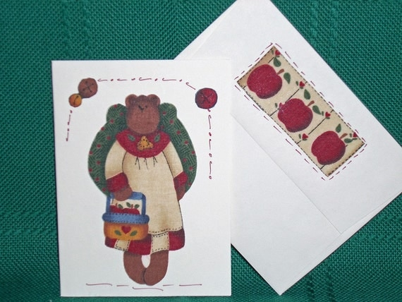 NOTECARDS--Country Bears in Fabric Applique
