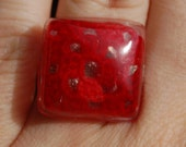 Red Crocheted Granny Square Embedded in Resin Ring