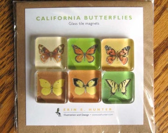 California Butterflies--set of 6 glass magnets