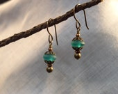 Lanterns at Dusk, Blue Sea Glass Earrings, Antique Copper\/Brass, niobium earwires