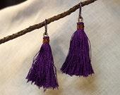 Tassel Earrings, Purple