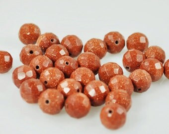 25 Goldstone 10 mm beads (Gold-001)