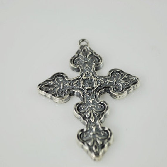 Sterling Silver Curly Edge Cross