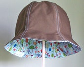 Cloche Hat - Sun Hat - Reversible Hat - Brown - Light Blue with Birds, Flowers, and Trees