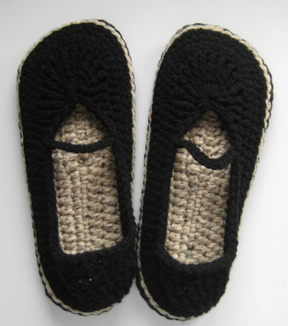 Women's Crochet Mary Jane Slippers Skimmers - Black and Buff Fleck - Large
