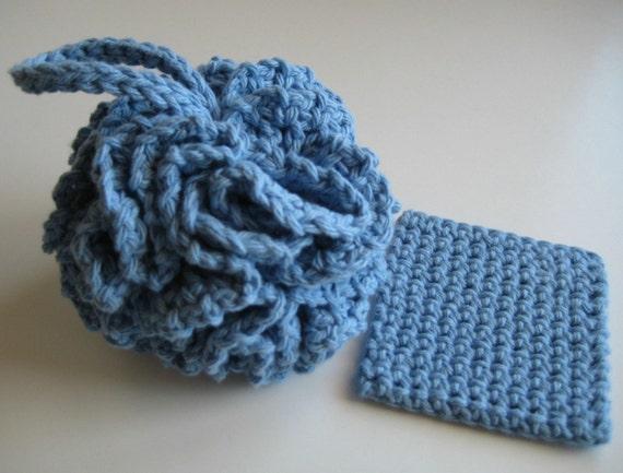 Great Deals Sale Cotton Crochet Bath Pouf Puff Blue W