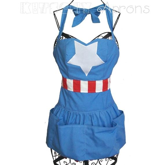Captain America super hero tribute apron
