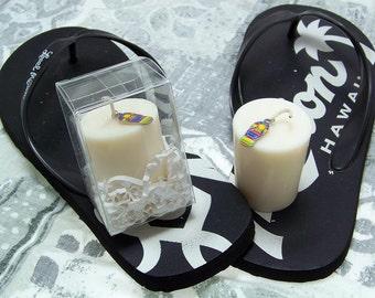 Flip Flops Candle Slippers Candle Slipper Charm White Soy Candle Votive Extra Large Ivory White Plumeria Scented Frangipani Fragrance