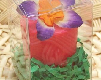 Vintage Fabric Flower Soy Candle Tuberose Fragrance Floral Scented Large Votive Honeysuckle Red Favor Gift BoxHawaiian