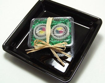 Sushi Gift California Roll Inside Out Reverse Roll Japanese Sushi Candle 2 Piece Japan Faux Food Beeswax Bento Gift Set