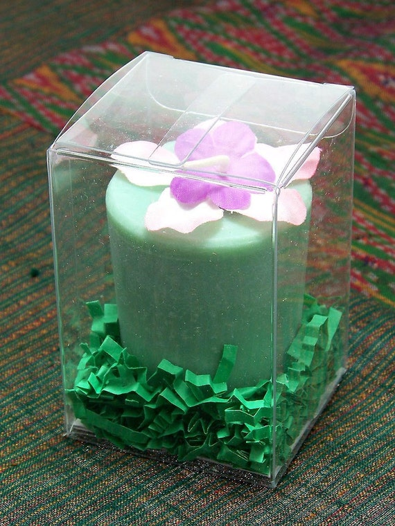 Vintage Material Flowers Scented Green Soy Candle Large Votive Sandalwood Fragrance Hawaii Gift Box