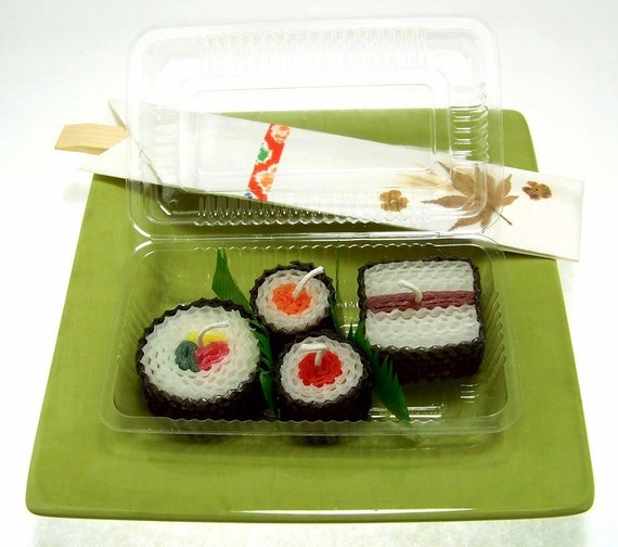Sushi Art Sushi Gift Ideas Handmade Beeswax Japanese Candles Assorted 4 Piece Japanese Home Decor Ho
