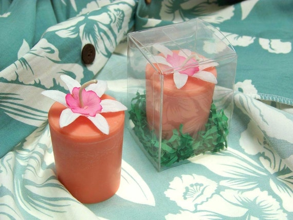 Unique Vintage Silk Flower Floral Soy Candle Orange Large Fruity Scented Fragrance Gift Box Hawaii