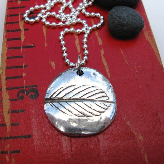 Leaf Impression Silver Necklace Reclaimed Silver Natural Symmetry