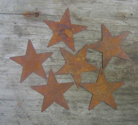 Twelve (12)  Primitive Rusty Tin Stars Craft Supplies 2.50 Inch Scrapbooking Embellishments
