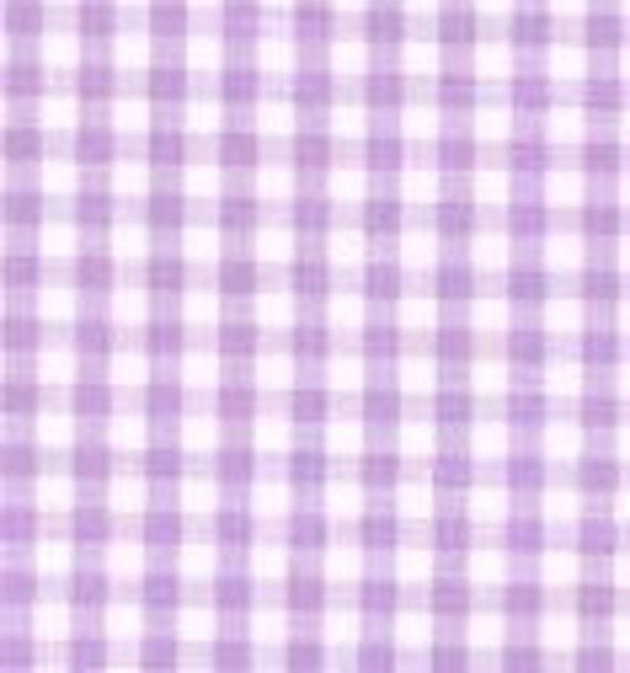 Lilac Gingham Retro All American Cotton Canvas Fabric