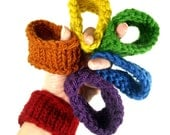 Rainbow Arm Warmers, 6 Stackable Wrist Cozies, Cup Cozies, or Bangle Bracelets, 'Rainbow Bright' COZY CUFFS