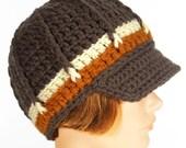 Newsboy Style Hat with Visor, Peanut Butter Truffle