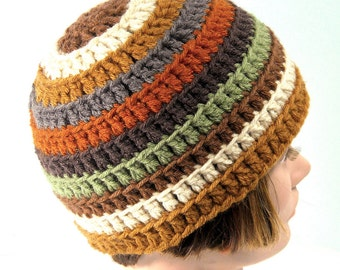 Handmade Crochet Beanie, Men's or Women's, Cap, Hat - 'Autumn Tides'