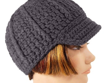 Gray Newsboy Style Hat with Visor